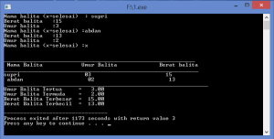 Hasil Compile sensus pendudukan dengan program bahasa C